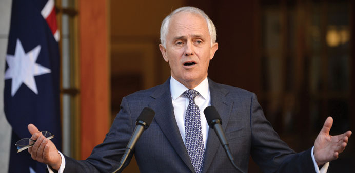 Turnbull answering a question from the media after announcing his new cabinet at a press conference