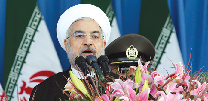 Rohani speaks during the parade.