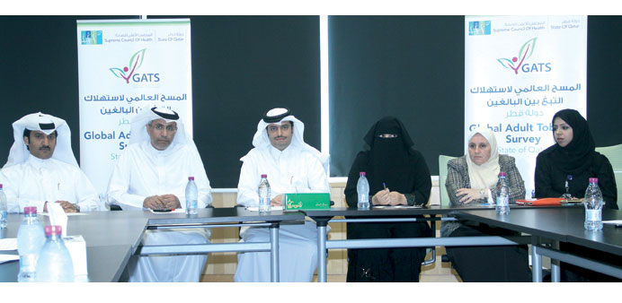 Dr Mohamed al-Thani (third from left) with other officials during the press conference to launch the