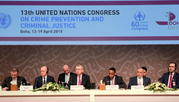 Fedotov (fourth from left) at the session on `terrorism financing'.