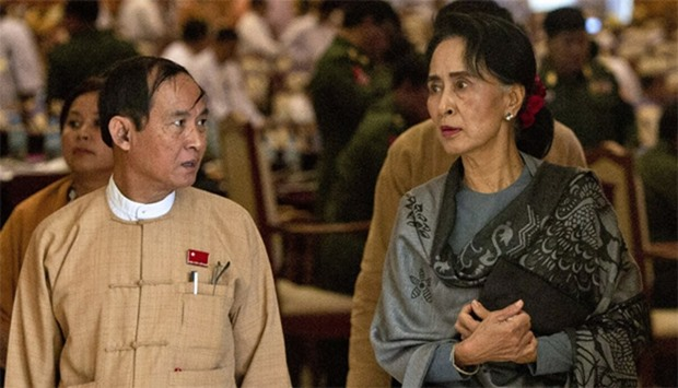 Win Myint (L), speaker of the lower house, and chairperson of the National League for Democracy (NLD