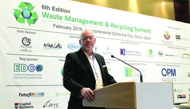 Evans speaks at the Waste Management and Recycling Summit.