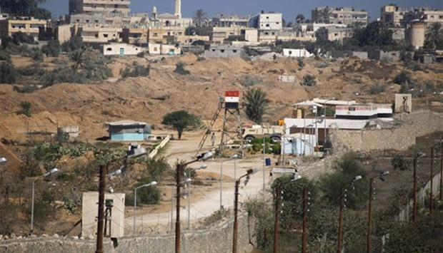 Egyptian soldier keeps guard on the border between Egypt and southern Gaza Strip