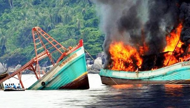Sinking illegal fishing boats