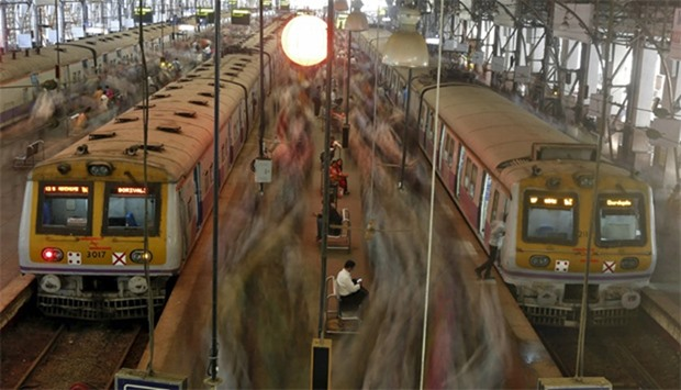 Crowded suburban trains at Churchgate railway station in Mumbai