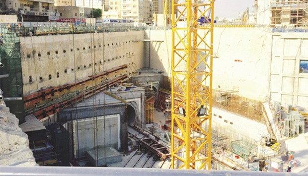 A metro station under construction