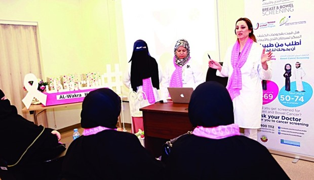 An information session on cancer held at AlWakra Health Centre.