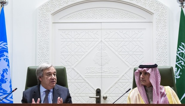 UN Secretary General Antonio Guterres (L) speaks alongside Saudi Minister of Foreign Affairs, Adel a