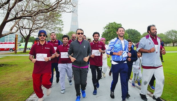 HE the Minister of Culture and Sports, Salah bin Ghanem al-Ali takes part in the activities at AZF a