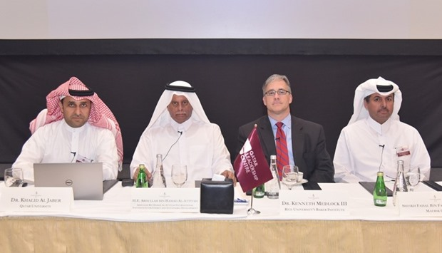 HE al-Attiyah (second left) with other dignitaries at the closing session of the roundtable at the F