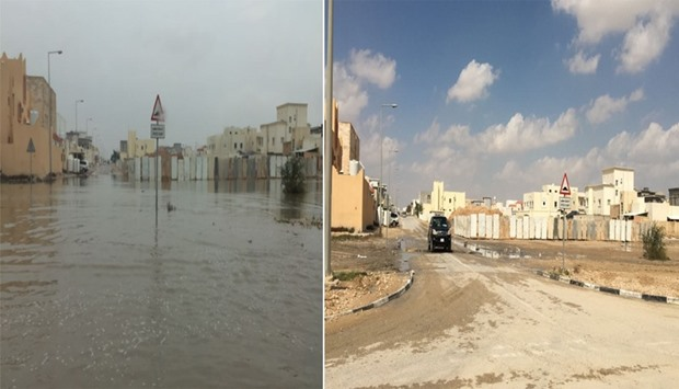 (left) Waterlogging after showers and before rainwater removal work. (right) Clear road after rainwa