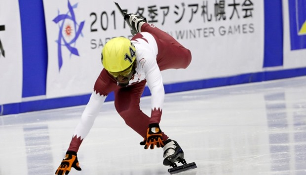 Short Track - 500 m (men)- Mohammed Farraj S Sh Alsahouti, Qatar, in action.
