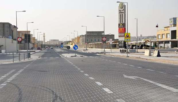 Photo of an intersection that is completed by Ashghal as part of Package 1 of Roads and Infrastructu