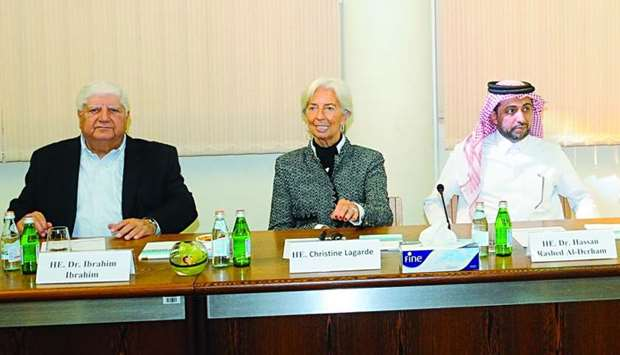 Dr Ibrahim, Lagarde and al-Derham addressing the roundtable. PICTURE: Shemeer Rashid