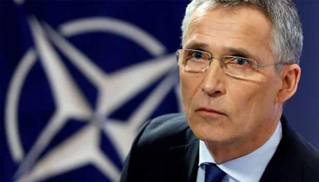 NATO Secretary-General Stoltenberg addresses a news conference at the Alliance headquarters in Bruss