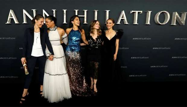 Annihilation cast members (L-R) Tuva Novotny, Tessa Thompson, Gina Rodriguez, Jennifer Jason Leigh a