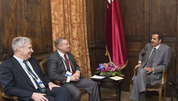 His Highness the Emir Sheikh Tamim bin Hamad Al-Thani meets the US delegation