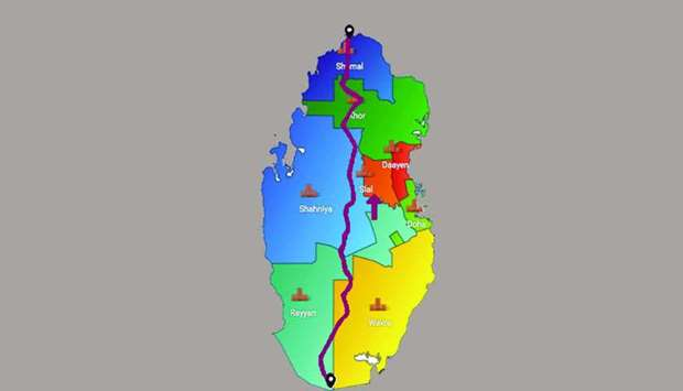 The route of the 'Trans Qatar' run.
