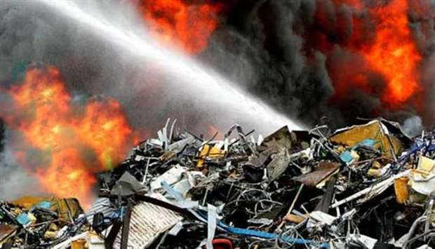 Fire at a waste processing facility in southern China