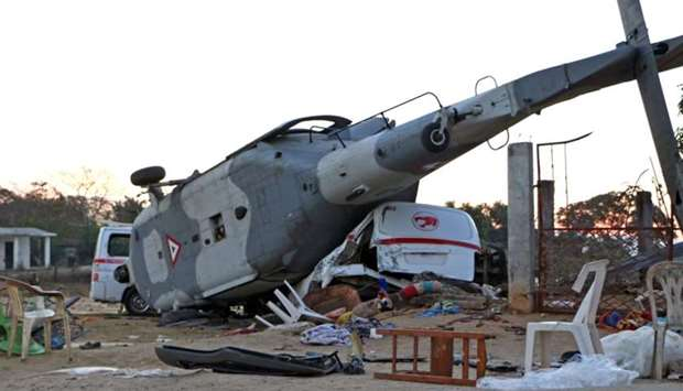 View of the remains of the military helicopter that fell on a van in Santiago Jamiltepec, Oaxaca sta
