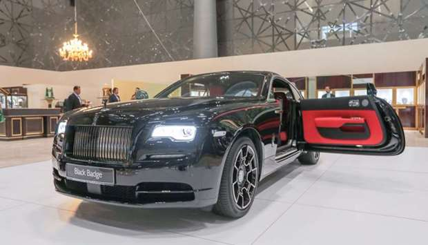 The Rolls-Royce Wraith Black Badge at the 15th edition of the Doha Jewellery and Watches Exhibition.