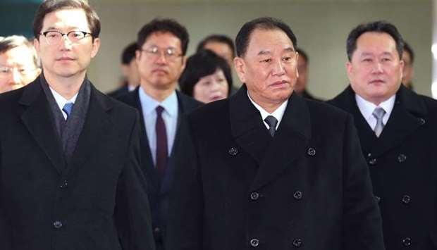 Kim Yong Chol (C), who leads a North Korean high-level delegation to attend the Pyeongchang 2018 Win
