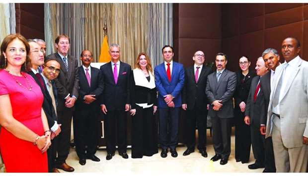 Pablo Campana Saenz with some of the ambassadors serving in Qatar at a reception held in his honor b