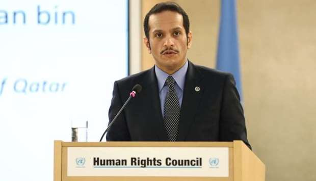 HE the Deputy Prime Minister and Foreign Minister Sheikh Mohamed bin Abdulrahman al-Thani addressing