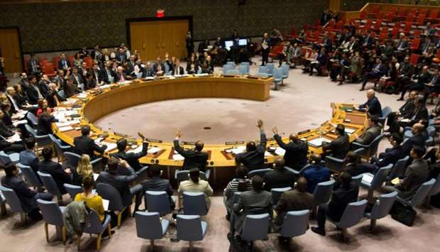 Members of the Security Council during a United Nations Security Council meeting