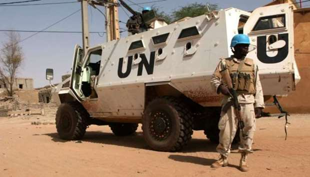 An armoured personnel carrier of The United Nations mission in Mali (MINUSMA) in Timbuktu on Septemb
