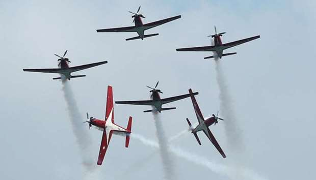 Indonesian Air Force (TNI-AU)'s Jupiter Aerobatic Team KT-1B aircrafts perform at the Singapore Airs