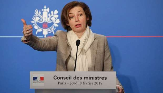 French Defence Minister Florence Parly gestures as she briefs the media following the weekly Cabinet