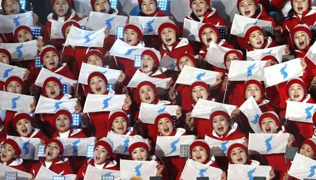 Cheerleaders of North Korea await the start of the opening ceremony