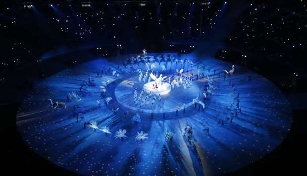 A general view shows the opening ceremony.