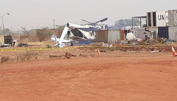 Crashed helicopter seen inside the compound of the UN Interim Security Force for Abyei