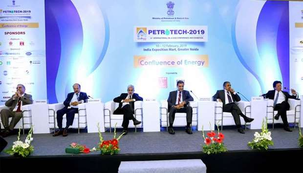 Sheikh Khalid (third right) at a 'CEO Conclave' held as part of the 13th International Oil & Gas Con
