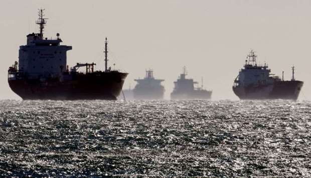 Oil and gas tankers sit anchored off the Fos-Lavera oil hub near Marseille, southeastern France