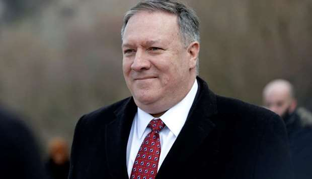 US Secretary of State Mike Pompeo visits the Gate of Freedom memorial in Bratislava, Slovakia