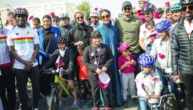 QF chairperson Her Highness Sheikha Moza bint Nasser participated on Tuesday in National Sport Day a