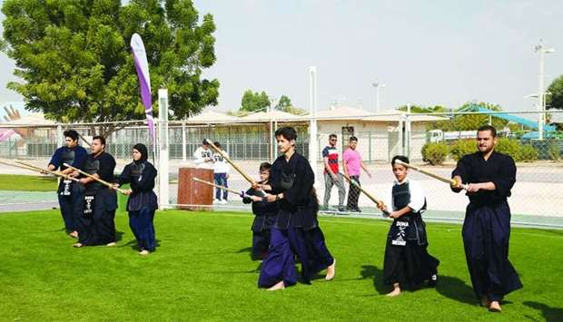Doha Kendo Club founder & club manager Abdulrahman Rashid al-Mohannadi leading a demonstration while