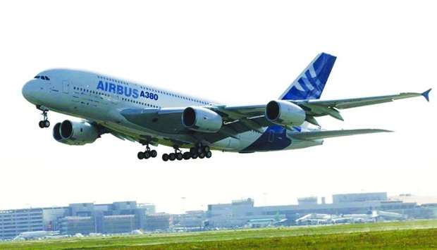 The Airbus A380 aircraft takes off on its maiden flight from Toulouse, France on April 27, 2005. Pro