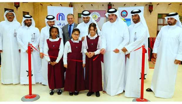 Officials and children at the opening of the event in Doha yesterday. PICTURE: Ram Chand