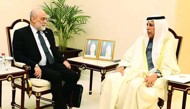 HE the Speaker of the Advisory Council Ahmed bin Abdullah bin Zaid al-Mahmoud met with Rubén Molina,
