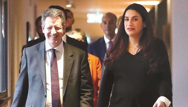 Former Labour party MPs Chris Leslie (left), and Luciana Berger