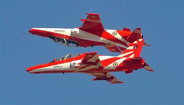The Indian Air Force's aerobatic display team 'Surya Kiran' performing