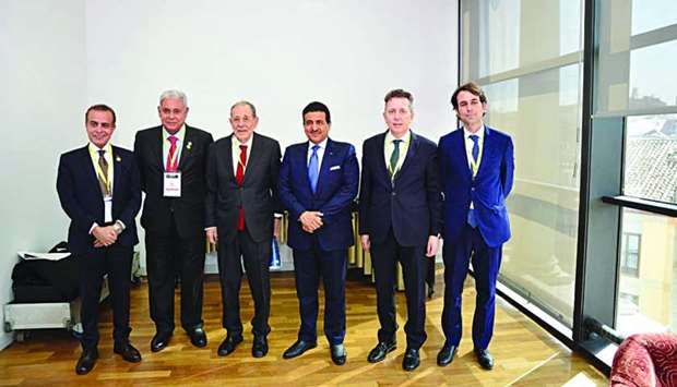 HE Dr Ali bin Fetais al-Marri with other dignitaries at the annual conference of the World Jurist As