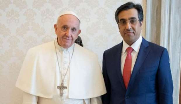 HE the Chairman of the National Human Rights Committee, Dr Ali bin Smaikh al-Marri, with Pope Franci