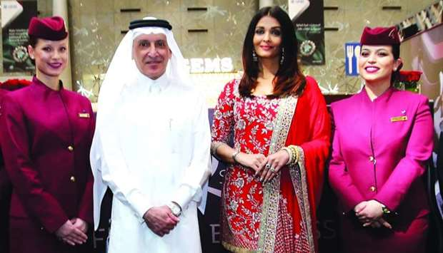 Qatar Airways Group chief executive HE Akbar al-Baker with Aishwarya Rai
