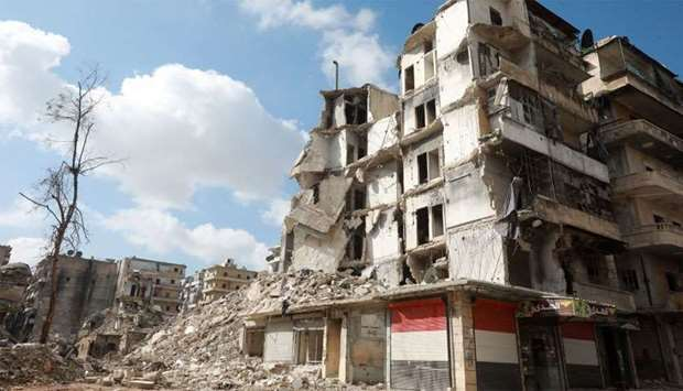 Buildings that were heavily damaged or destroyed during battles between rebel fighters and regime fo