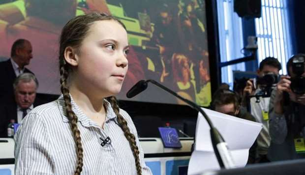 Swedish 16-years-old climate activist Greta Thunberg delivers a speech during a meeting at the Civil